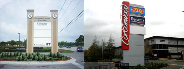 Pylon signs in canada, these pylon signs are built from scratch, we can retrofit led signs in the pylon signs